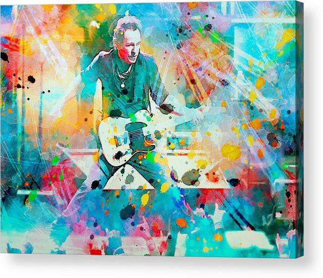 Bruce Acrylic Print featuring the painting Bruce Springsteen by Rosalina Atanasova