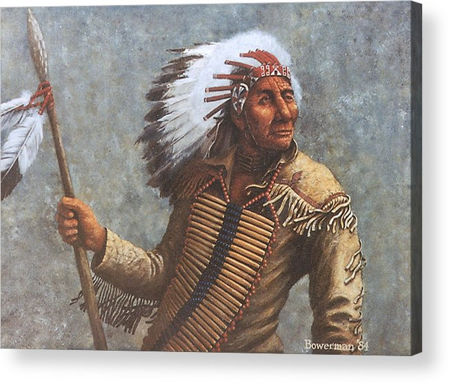 Native American Acrylic Print featuring the painting Chief Knife by Lee Bowerman