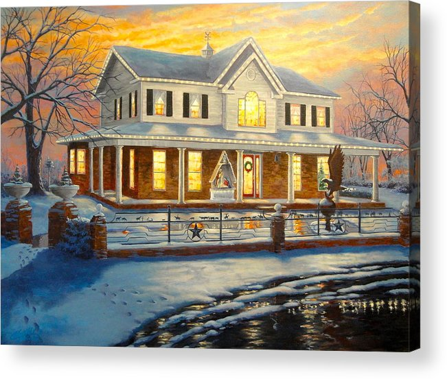 Christmas Acrylic Print featuring the painting Christmas At The Hibbard's by Clay Hibbard