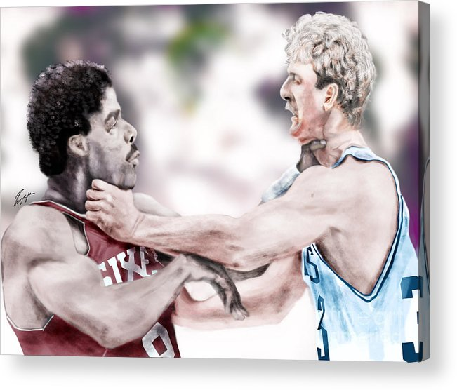 Sports Acrylic Print featuring the painting Clash Of The Titans 1984 - Bird And Doctor J by Reggie Duffie
