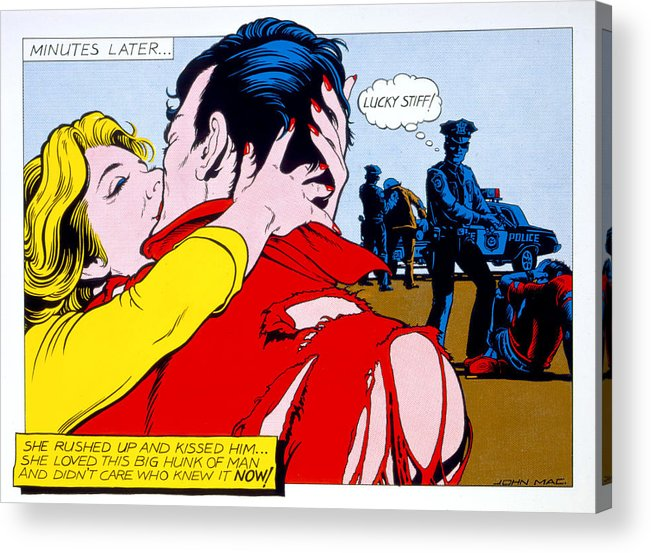 80's Acrylic Print featuring the photograph Comic Strip Kiss by MGL Studio