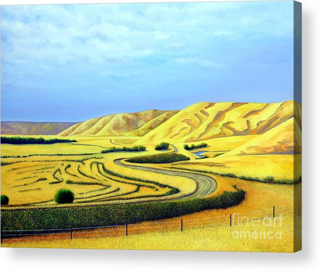Prairies Acrylic Print featuring the painting Country Road by Blaine Filthaut