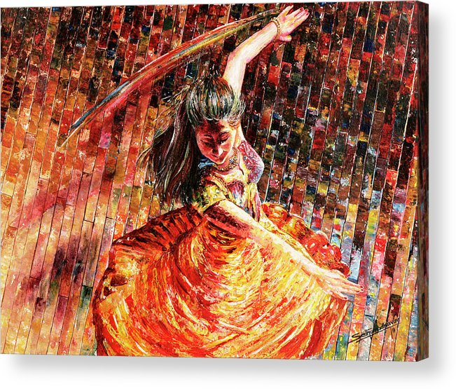 Dancer Acrylic Print featuring the painting Dance Of Colors by Sethu Madhavan