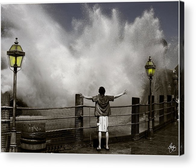 Boy Acrylic Print featuring the photograph Dancing With The Splash by Wayne King