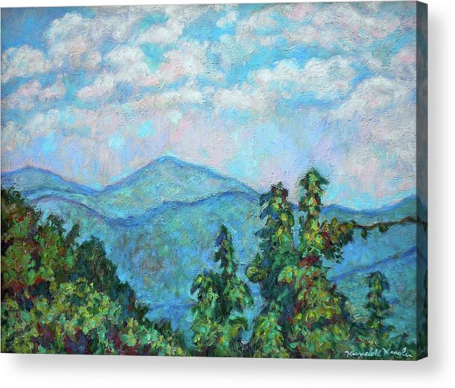 Kendall Kessler Acrylic Print featuring the painting Distant View Of Peaks Of Otter by Kendall Kessler