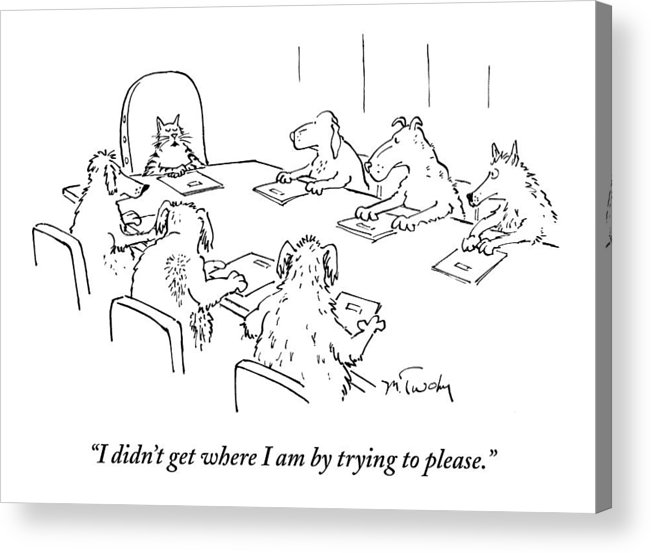 Caption Contest Tk Acrylic Print featuring the drawing Dogs At A Meeting by Mike Twohy
