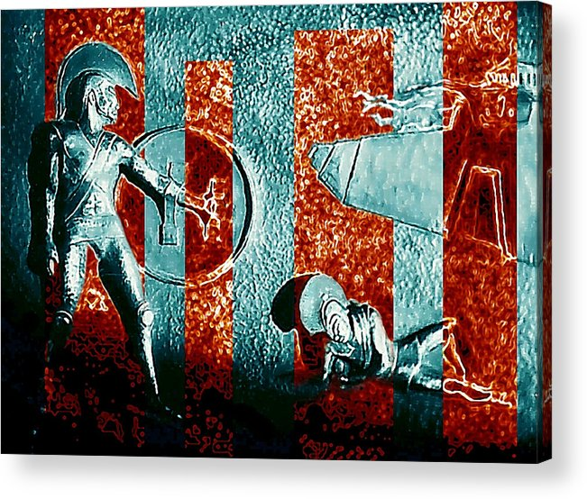 Dogs Of War Acrylic Print featuring the digital art Dogs Of War At Troy by Hartmut Jager