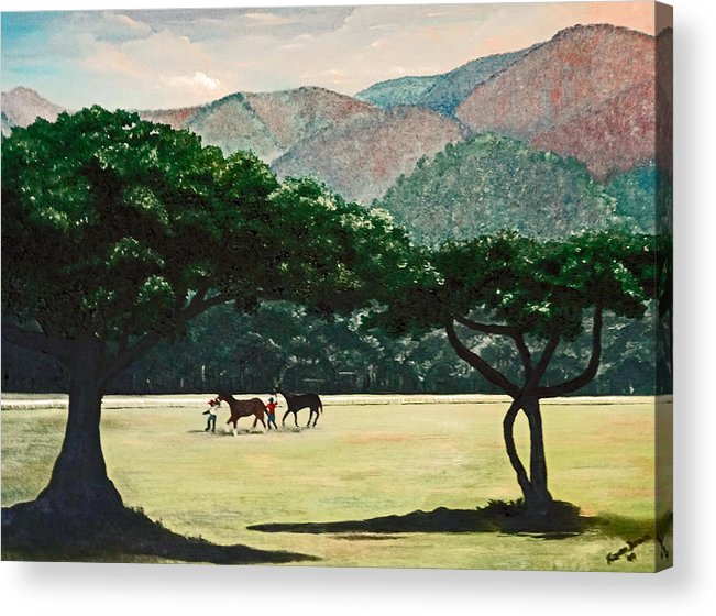 Trees Acrylic Print featuring the painting Early Morning Savannah by Karin Dawn Kelshall- Best