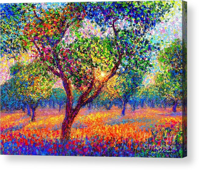 Poppies Acrylic Print featuring the painting Evening Poppies by Jane Small