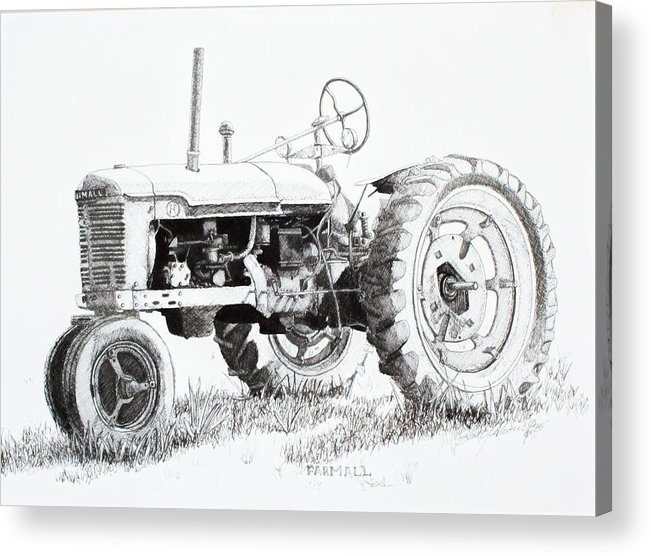Tractor Acrylic Print featuring the drawing Farmall by Scott Alcorn