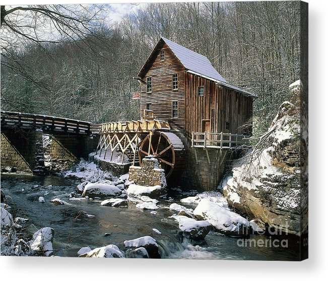 Winter Acrylic Print featuring the photograph Glade Creek Grist Mill In West Virginia by David Davis