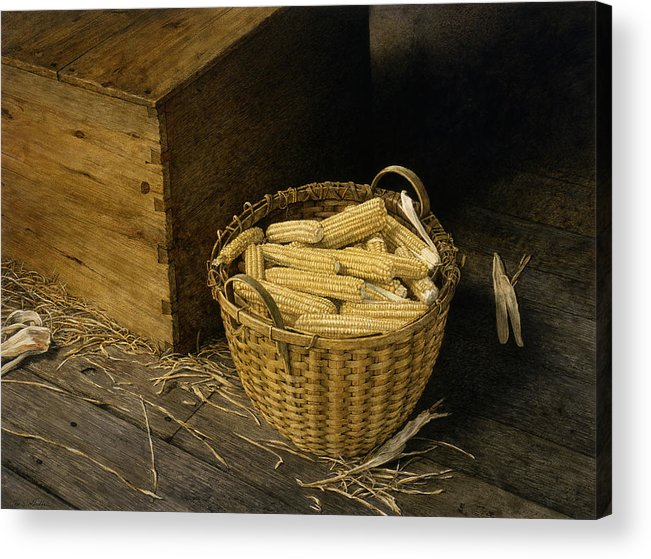 Still Life Acrylic Print featuring the painting Golden Harvest by Tom Wooldridge
