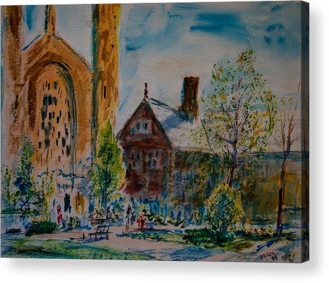 Watercolor Acrylic Print featuring the painting Graham Chapel Morning Effect by Horacio Prada