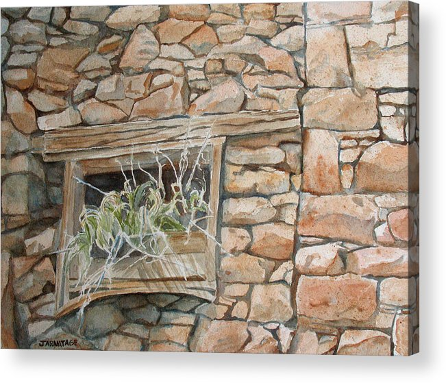 Wall Acrylic Print featuring the painting Grass In The Window by Jenny Armitage