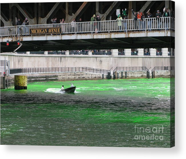 Chicago Acrylic Print featuring the photograph Greening The Chicago River by Ann Horn