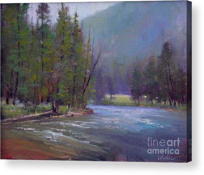 Yellowstone Acrylic Print featuring the painting Hazy Day On The Gallatin by Lori McNee