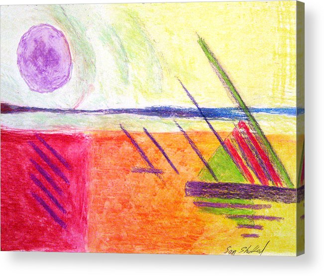 Hot Day Acrylic Print featuring the drawing Hot Day At The Shore by Sam Shacked