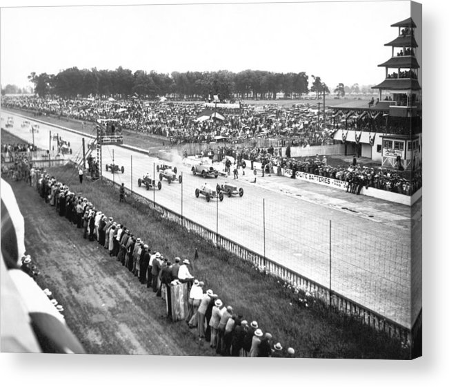 1920's Acrylic Print featuring the photograph Indy 500 Auto Race by Underwood Archives