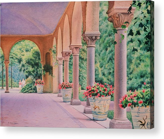 Watercolor Acrylic Print featuring the painting Italian Pavilion by Daniel Dayley