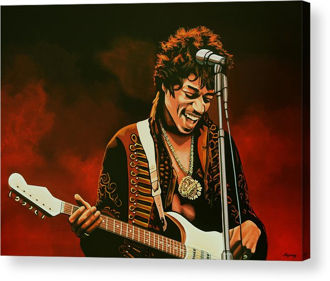 Jimi Hendrix Acrylic Print featuring the painting Jimi Hendrix Painting by Paul Meijering