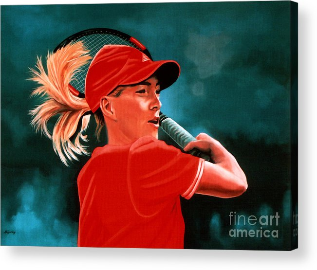 Justine Henin Acrylic Print featuring the painting Justine Henin by Paul Meijering