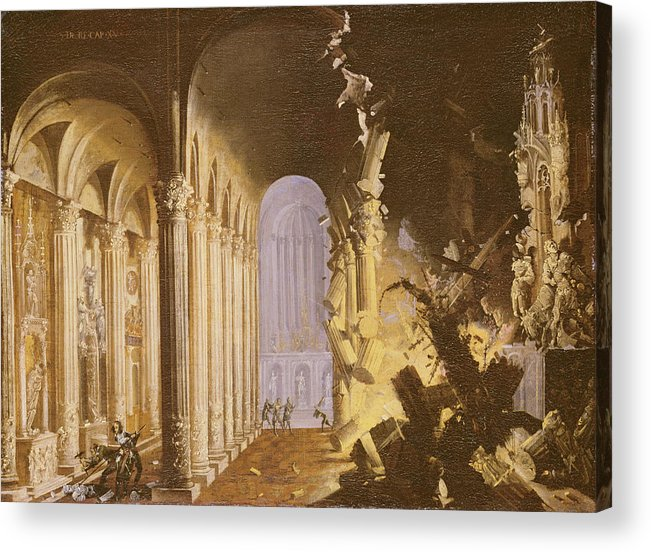 Destruction Acrylic Print featuring the painting King Asa Of Judah Destroying The Statue by Francois de Nome
