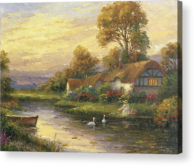 Woman Acrylic Print featuring the painting Lakeside Cottage by Ghambaro