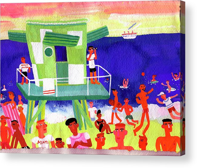 People Acrylic Print featuring the digital art Lifeguard Station On Beach In Miami by Christopher Corr