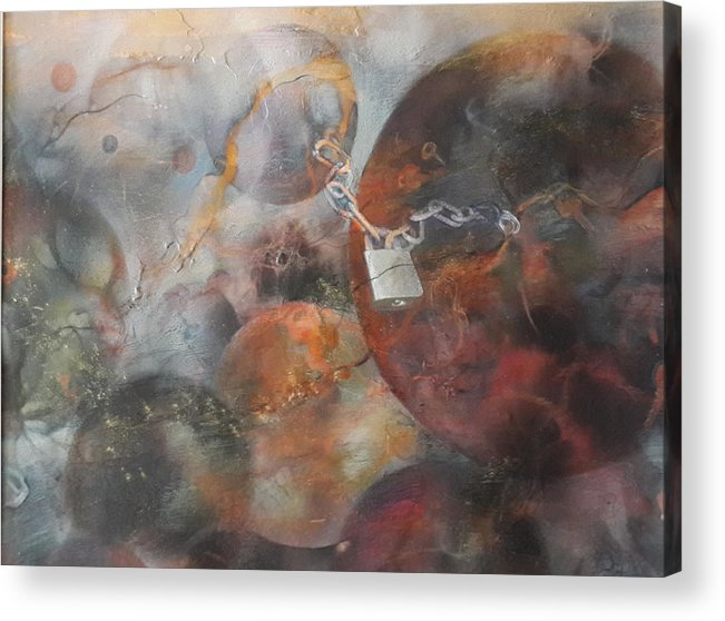 Locked On Earth. Locked In Heaven Acrylic Print featuring the painting Locked In The Heavens by Ilona Petzer