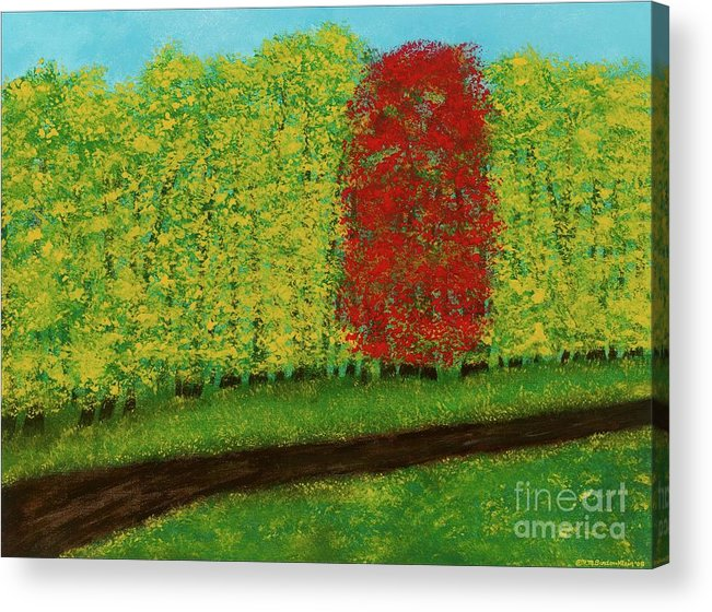 Landscape Acrylic Print featuring the painting Lone Maple Among The Ashes by Hillary Binder-Klein