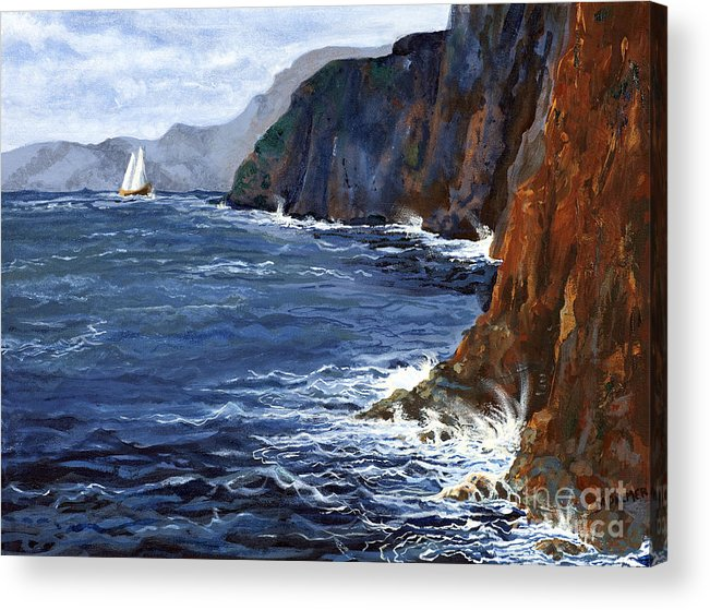 Landscape Acrylic Print featuring the painting Lonely Schooner by Mary Palmer