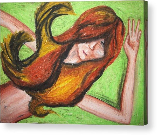 Girl Acrylic Print featuring the pastel Lost by Jake Huenink