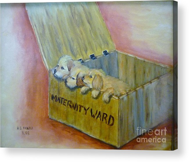 Puppies Acrylic Print featuring the painting Maternity Ward by Beverly Hanni