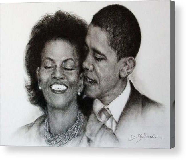 Michelle Et Barack Obama Acrylic Print featuring the drawing Michelle Et Barack Obama by Guillaume Bruno