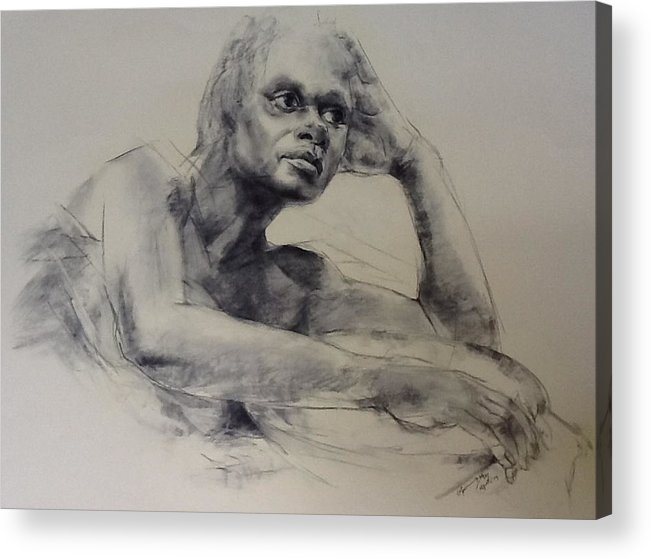 Studio Model. Acrylic Print featuring the drawing Model With Basket by Stephen Gwoktcho
