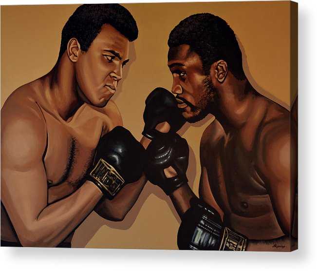 Mohammed Ali Versus Joe Frazier Acrylic Print featuring the painting Muhammad Ali And Joe Frazier by Paul Meijering