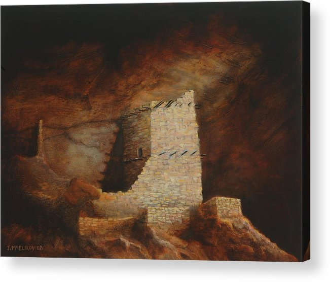 Anasazi Acrylic Print featuring the painting Mummy Cave by Jerry McElroy