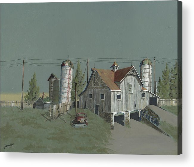 Silo Acrylic Print featuring the painting One Man's Castle by John Wyckoff