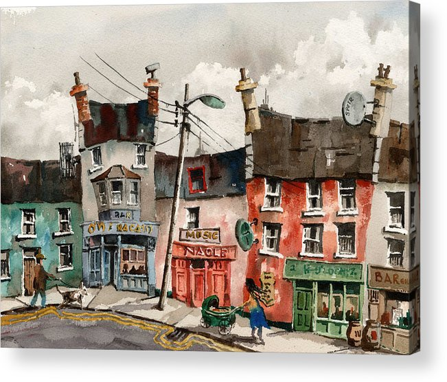 Val Byrne Acrylic Print featuring the painting Perambulating In Ennistymon Clare by Val Byrne