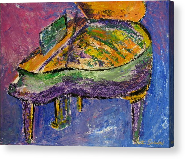 Impressionist Acrylic Print featuring the painting Piano Purple by Anita Burgermeister