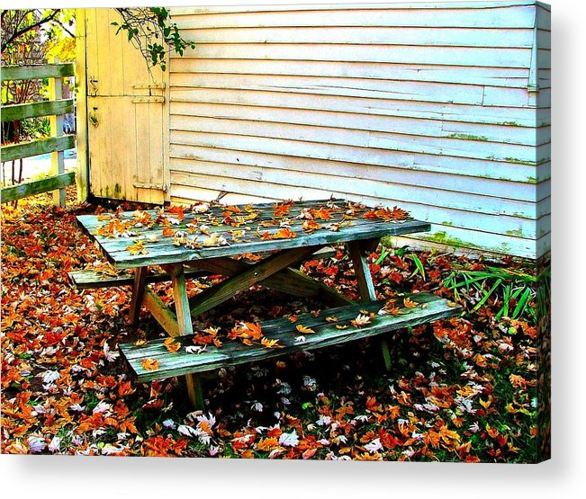 Autumn Acrylic Print featuring the photograph Picnic Table In Autumn by Julie Dant