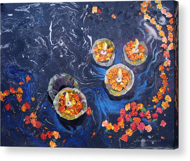 Handmade Paper Acrylic Print featuring the painting Prayers To The Ganges River by Art Nomad Sandra Hansen