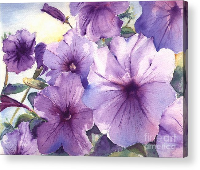 Purple Acrylic Print featuring the painting Purple Profusion by Patricia Henderson