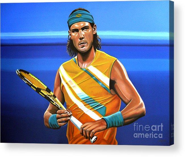 Rafael Nadal Acrylic Print featuring the painting Rafael Nadal by Paul Meijering