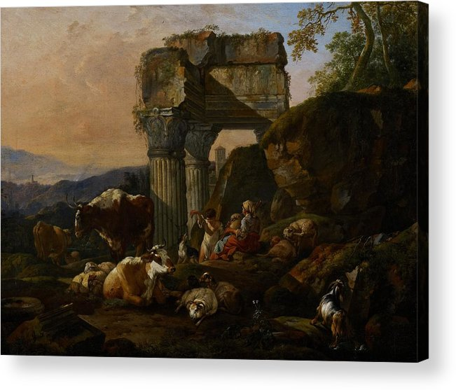 Roman Acrylic Print featuring the painting Roman Landscape With Cattle And Shepherds by Johann Heinrich Roos