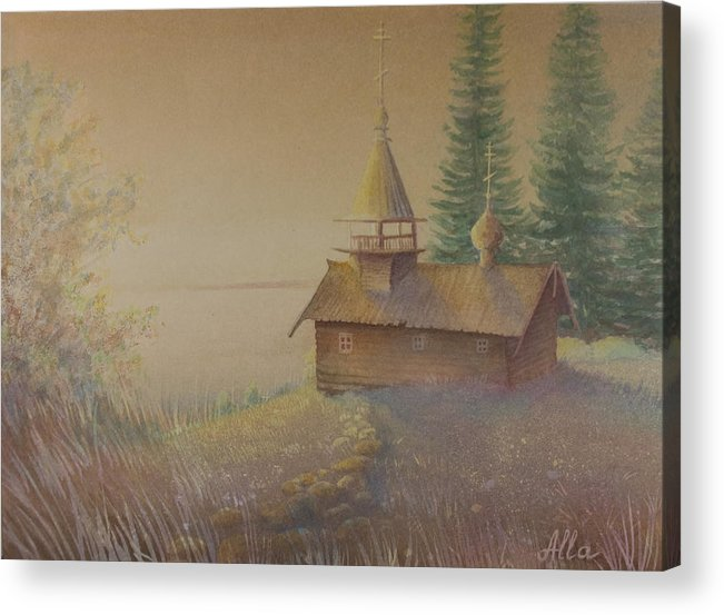 Watercolor Acrylic Print featuring the painting Russian Chapel by Alla Parsons