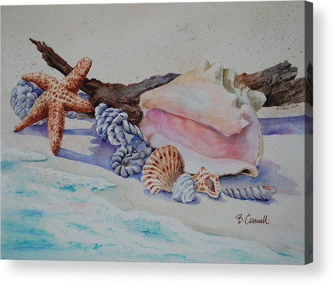 Shell Acrylic Print featuring the painting Sea Shells Two by Barbara Carswell