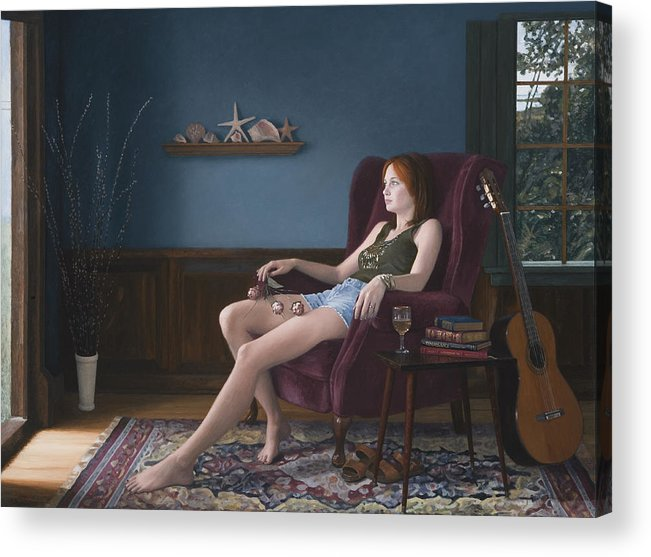 Female Acrylic Print featuring the painting Seashells And Guitar by Charles Pompilius