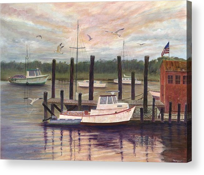 Charleston; Boats; Fishing Dock; Water Acrylic Print featuring the painting Shem Creek by Ben Kiger