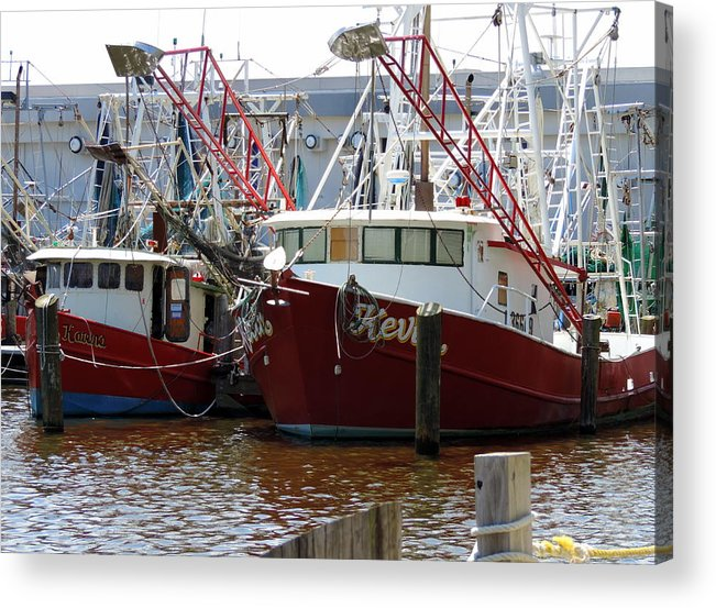 Boats Acrylic Print featuring the photograph Shrimp Boats by Cathy Jourdan